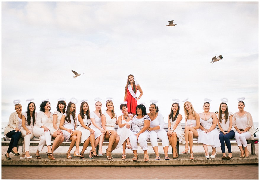 awesome hens night photo on beach