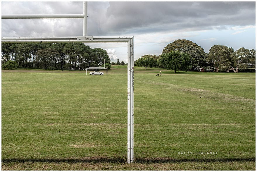 Symmetrical photo on football field