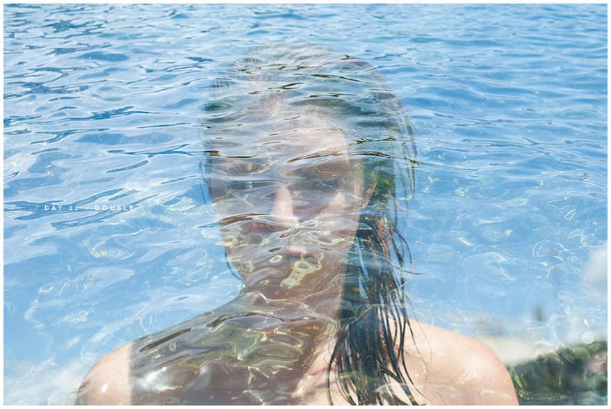 Double exposure photo of girl and sea