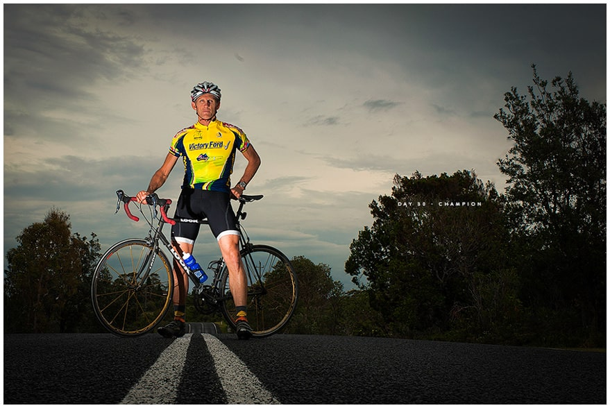 Dramatic portrait of champion triathlon cyclist