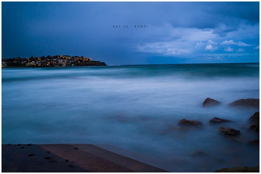 Long exposure shot of Bondi sea at nightfall