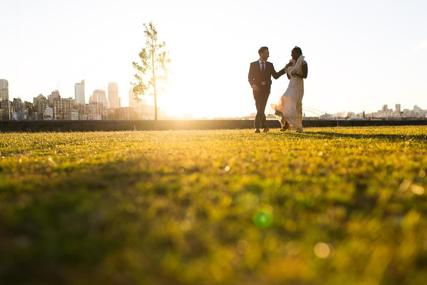 Sunset behind newly weds in Rushcutters Bay