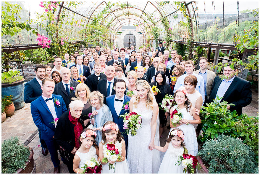 The group shot at a wedding of all the guests