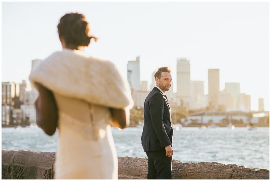 First look photo at Rushcutters Bay in Sydney - bridal photos