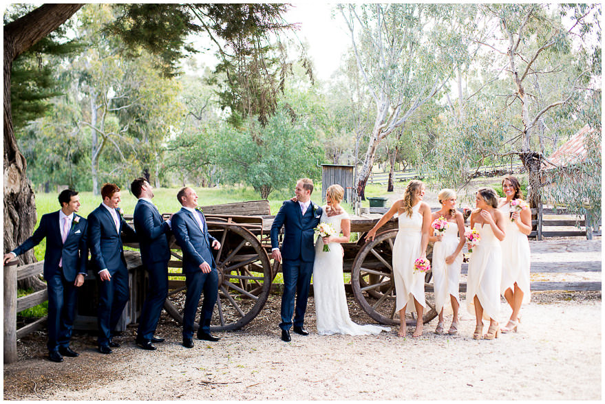 Bridal party laughing at farm house wedding in Melbourne Emu Homestead