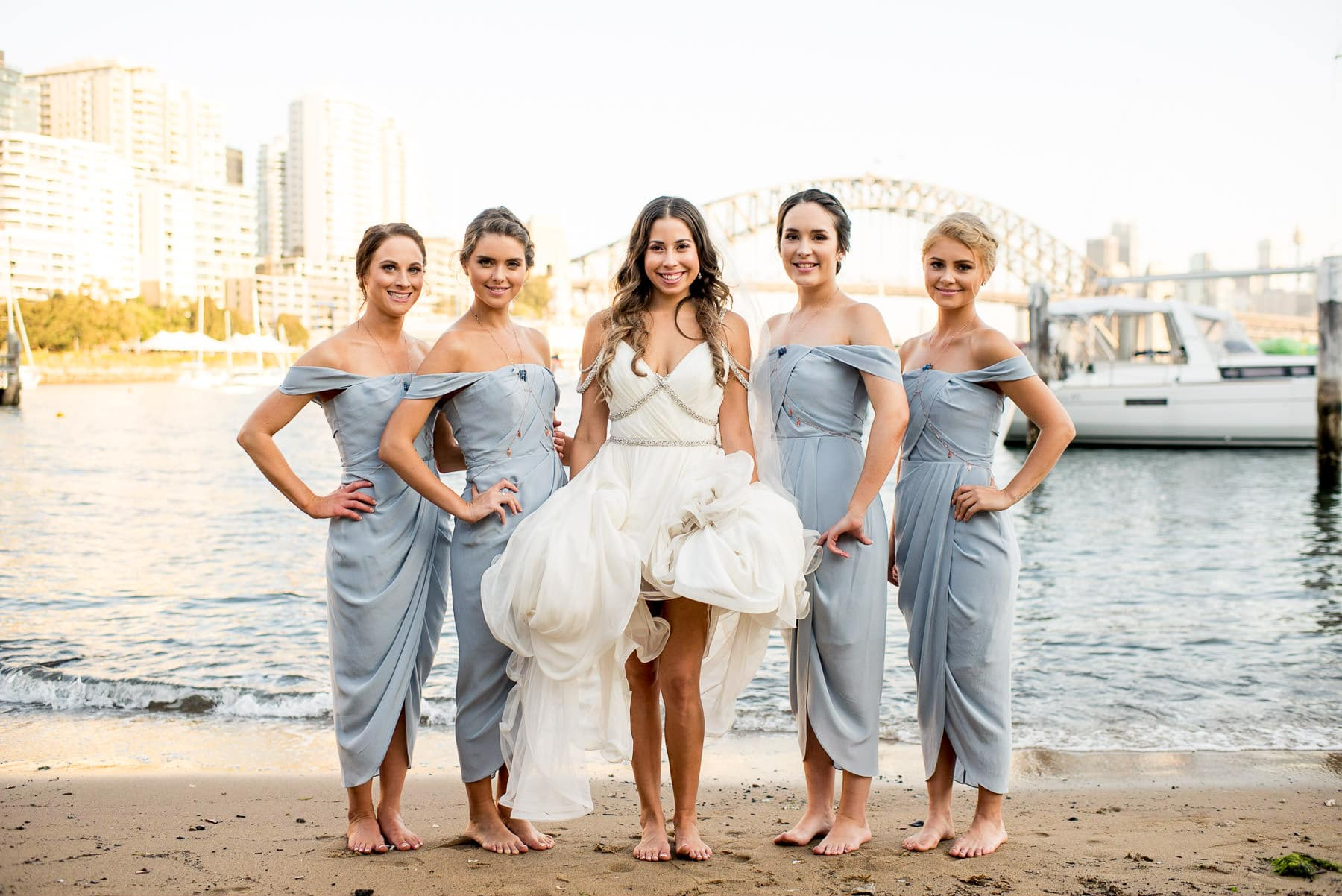 Lavender Bay beach photo bridesmaids