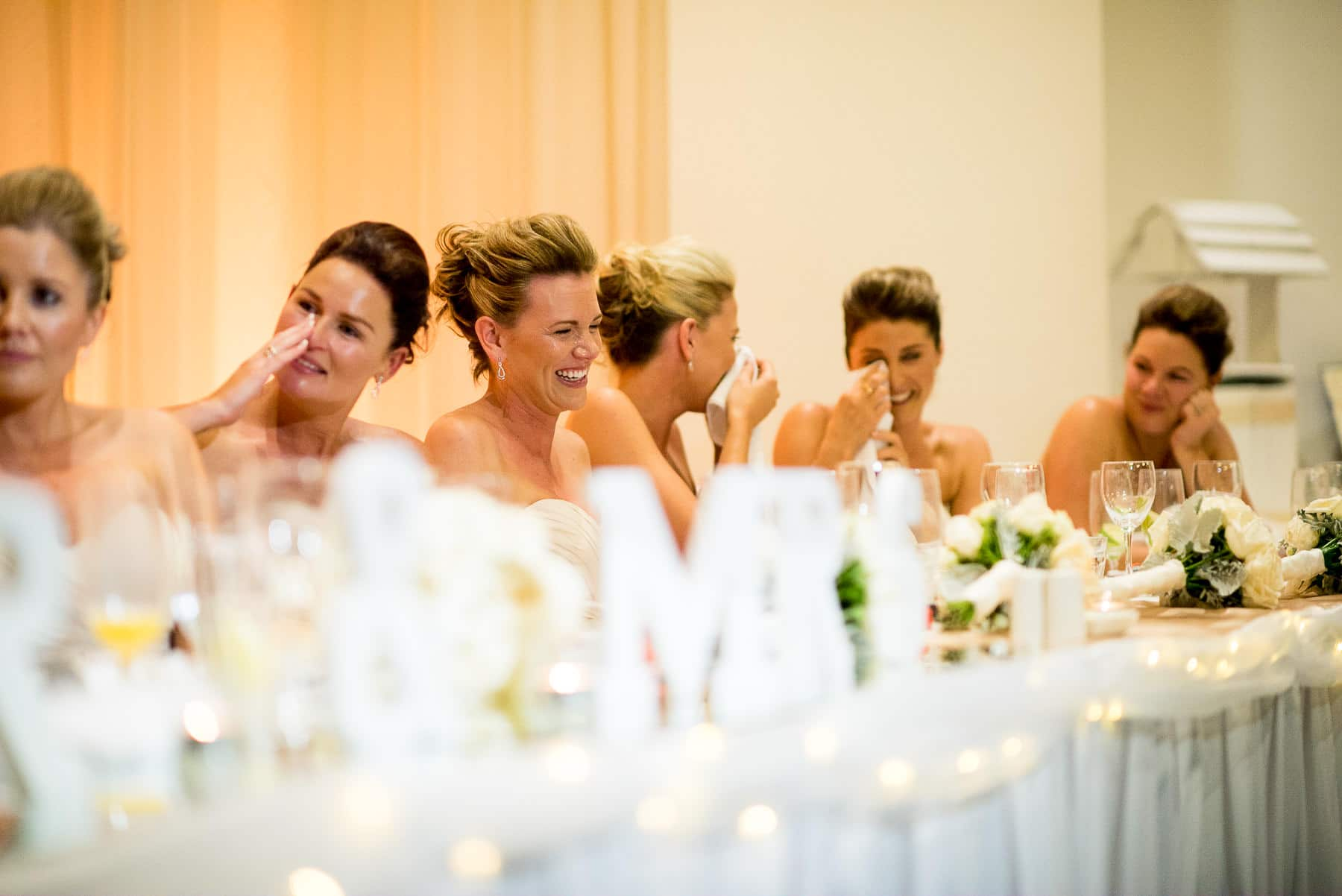 bridesmaids crying after wedding speech