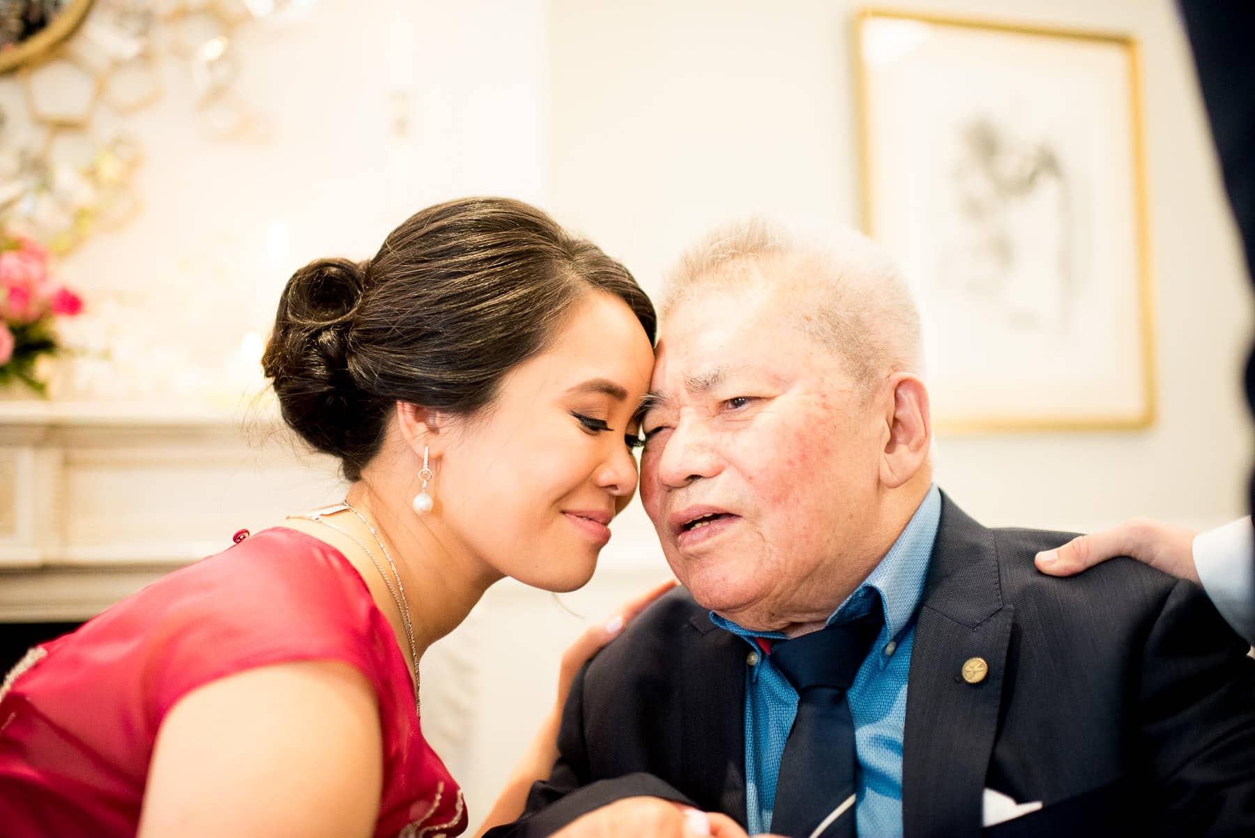 Bride with grandfather special moment