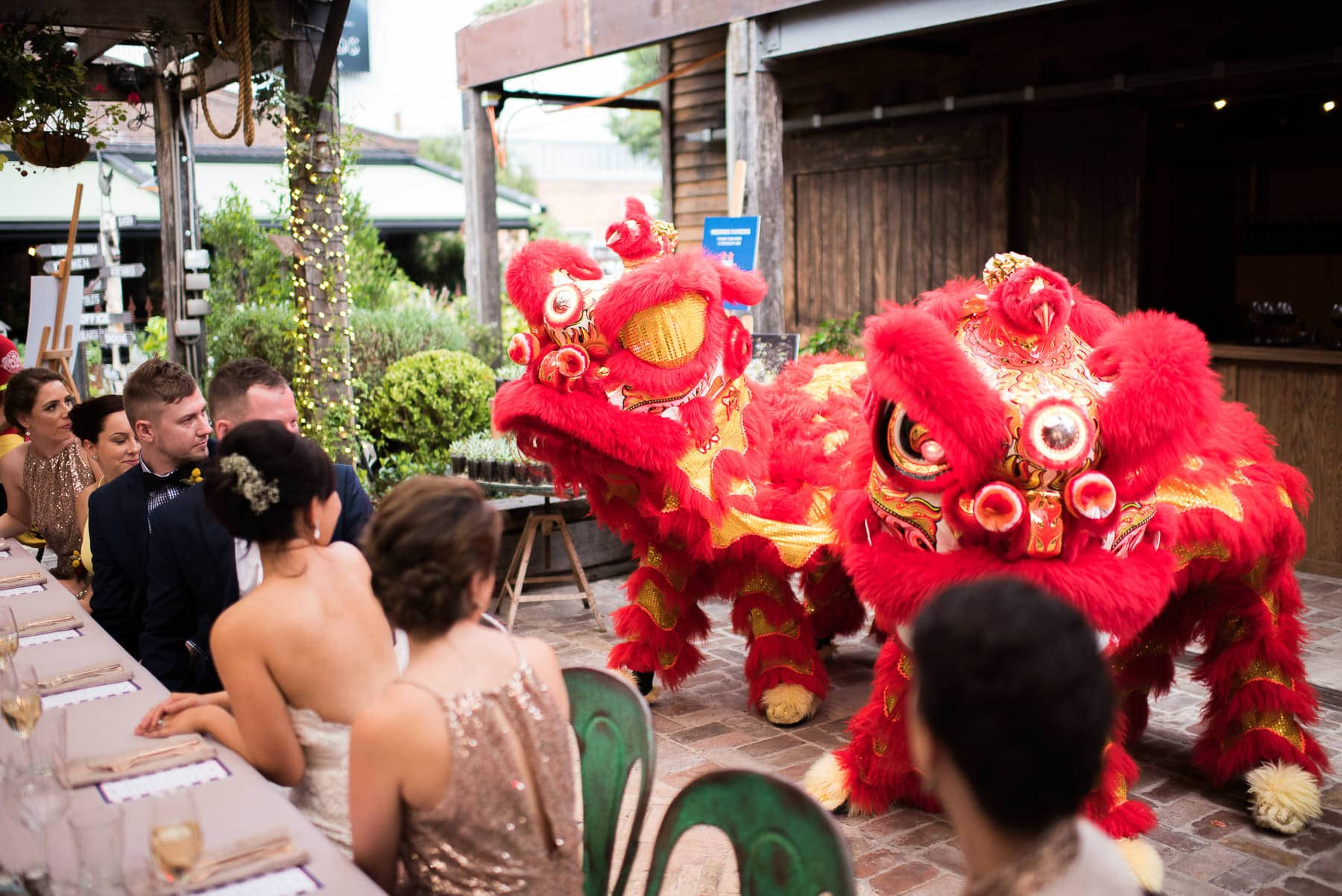 Chinese dragons at wedding