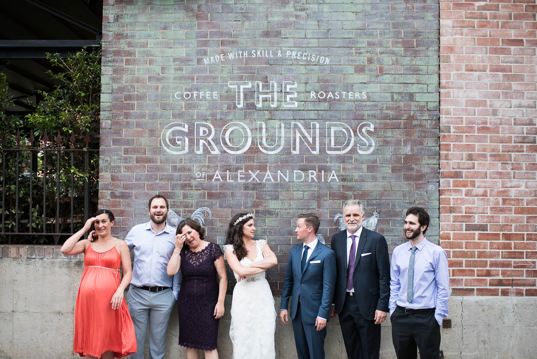natural wedding group family photo