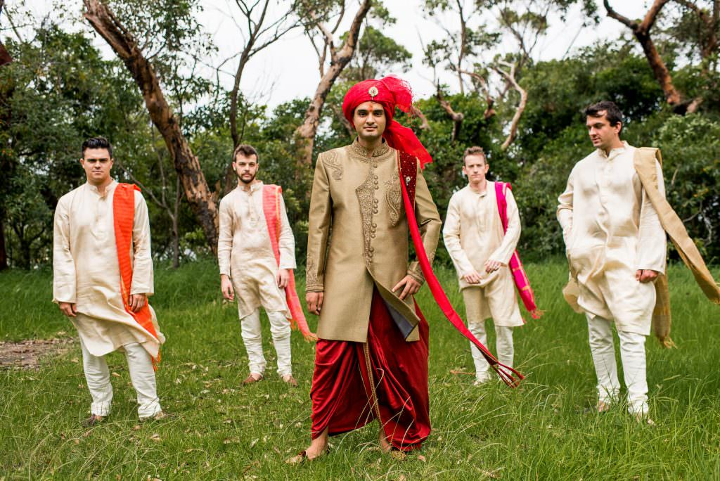 Indian groom with western groomsmen at Indian Wedding
