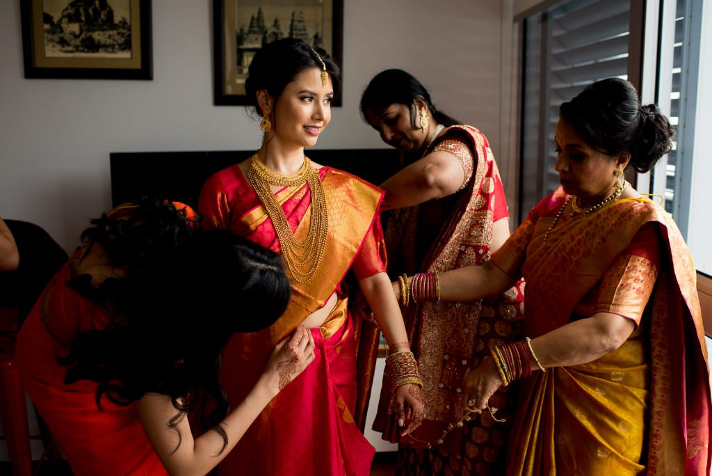 Beautiful bride in sari before Indian wedding