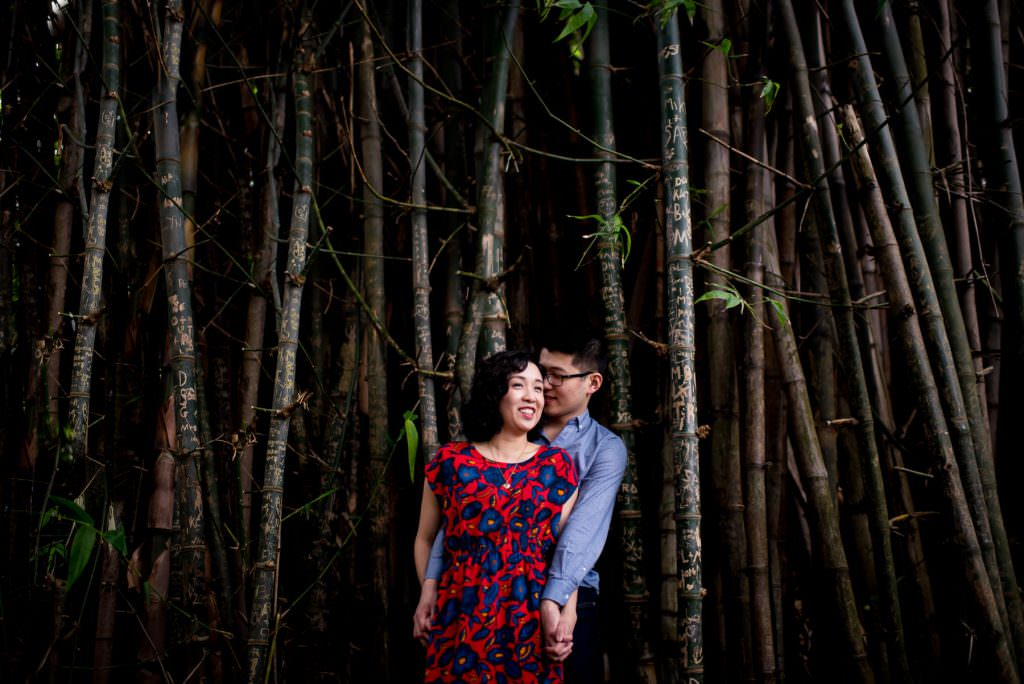 couple hugging in bamboo in botanical gardens